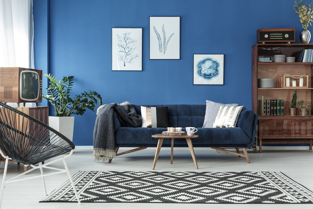 Living Room Blue Painted Walls