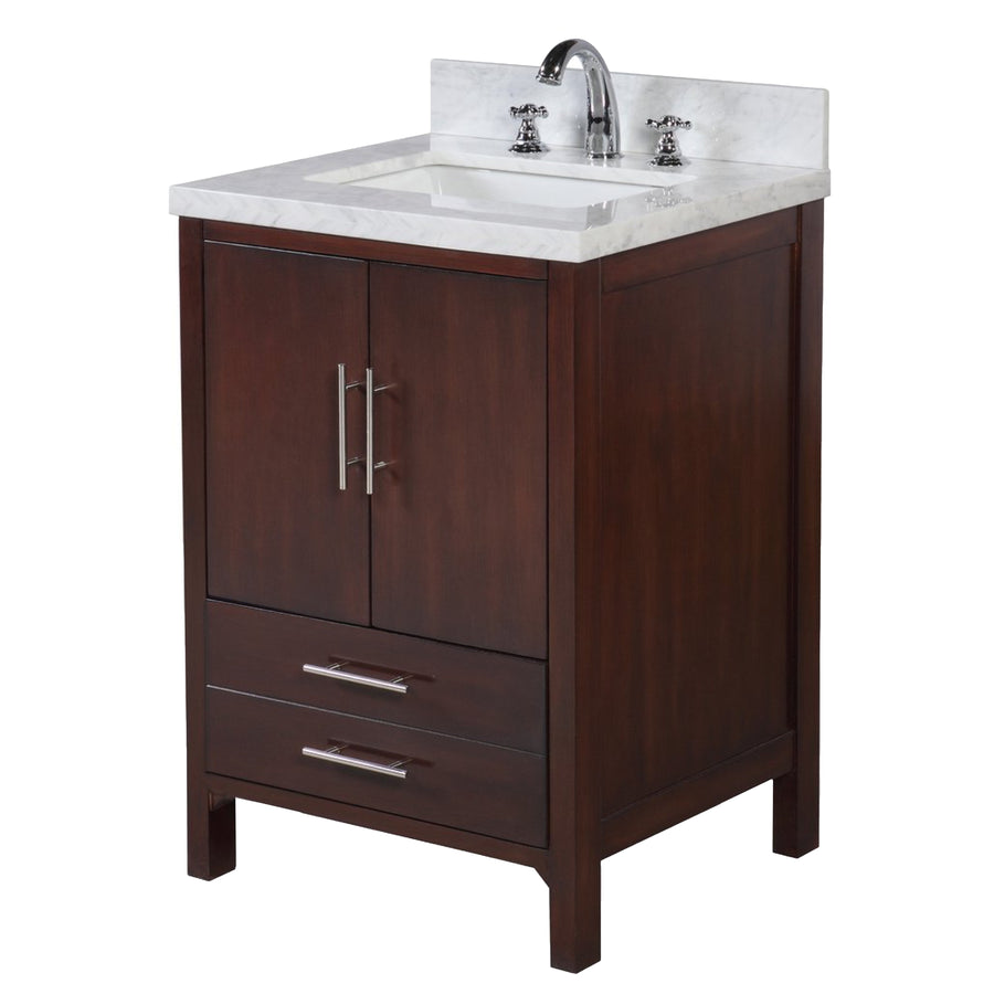 "California 24"" Chocolate Brown Bathroom Vanity with Carrara Marble Top"