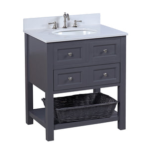"New Yorker 30"" Charcoal Gray Bathroom Vanity with Quartz Top"