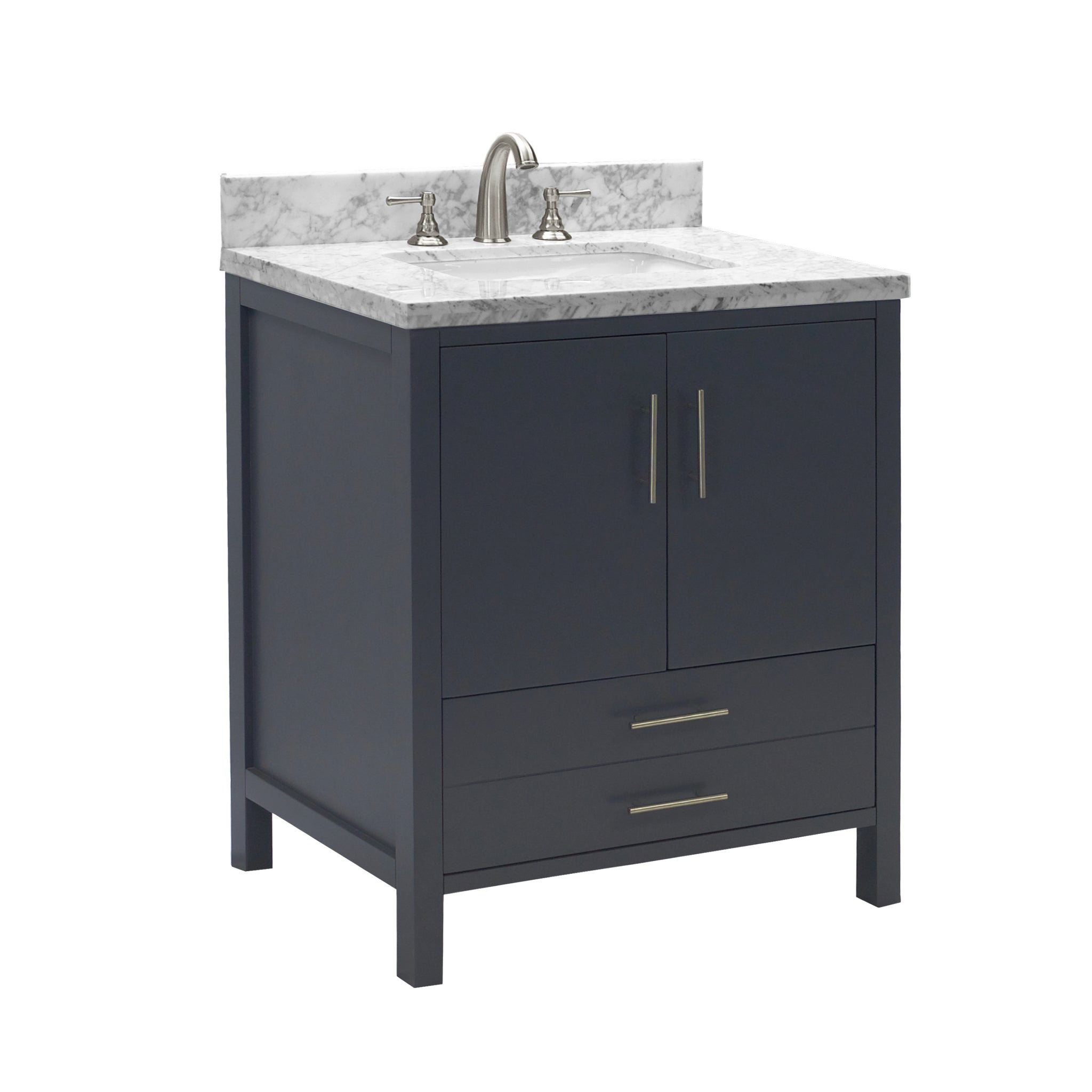 California 30 Quot Bathroom Vanity In Carrara Marble
