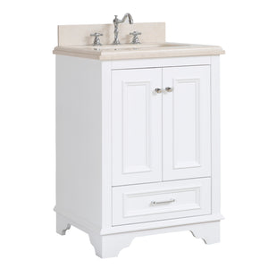 "Nantucket 24"" Bathroom Vanity in Crema Marfil & White"