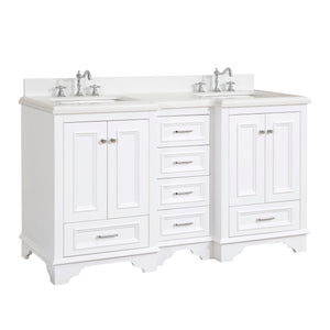 "Nantucket 60"" Double Bathroom Vanity in Quartz & White"