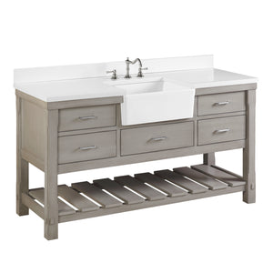 "Charlotte 60"" Weathered Gray Farmhouse Bathroom Vanity Quartz Top"