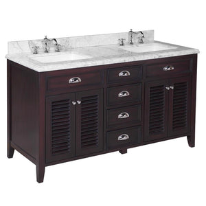 "Savannah 60"" Chocolate Brown Double Bathroom Vanity with Carrara Marble Top"