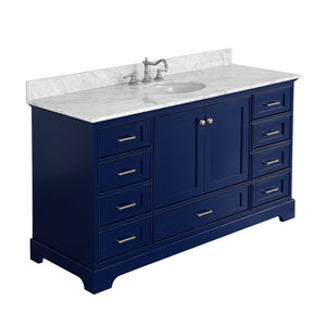 "Harper 60"" Single Sink Bathroom Vanity in Carrara Marble & Royal Blue"