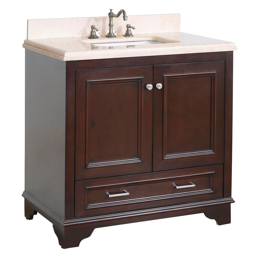 Nantucket 36-inch Vanity (Crema Marfil/Chocolate)