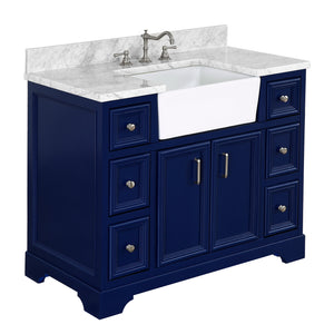 Zelda 42-inch Farmhouse Vanity (Carrara/Royal Blue)