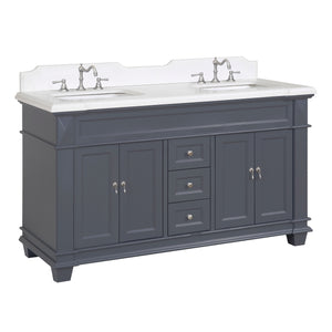 "Elizabeth 60"" Charcoal Gray Double Bathroom Vanity with Quartz Top"