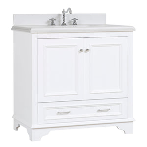 "Nantucket 36"" Bathroom Vanity in Quartz & White"