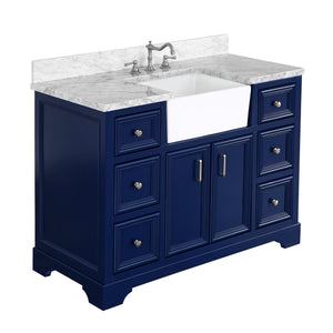 Zelda 48-inch Farmhouse Vanity (Carrara/Royal Blue)