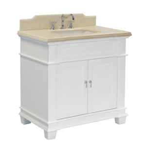 "Elizabeth 36"" White Bathroom Vanity with Crema Marfil Top"