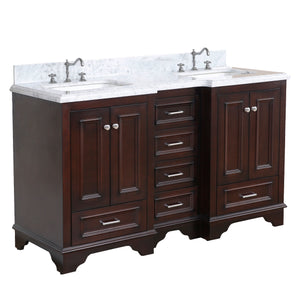 "Nantucket 60"" Double Bathroom Vanity in Carrara Marble & Chocolate"
