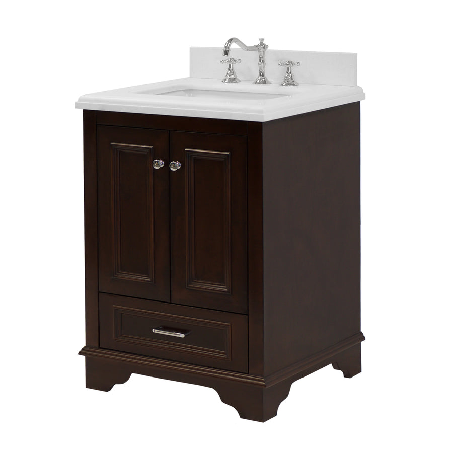 "Nantucket 24"" Bathroom Vanity in Quartz & Chocolate"
