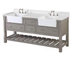 Charlotte 72-inch Farmhouse Vanity (Quartz/Weathered Gray)