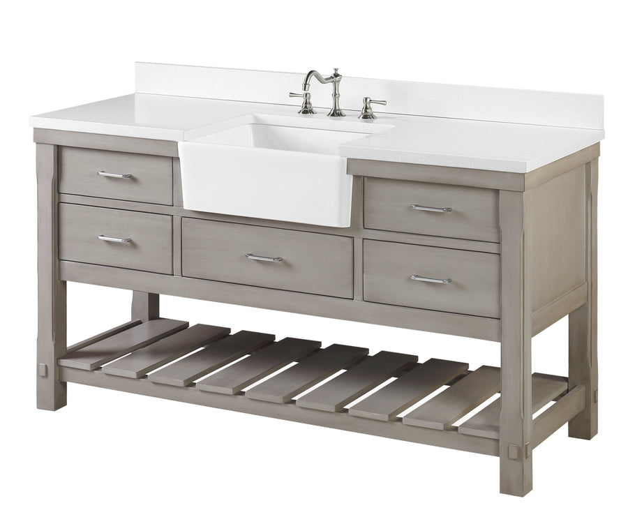 Charlotte 60-inch Single Farmhouse Vanity (Quartz/Weathered Gray)