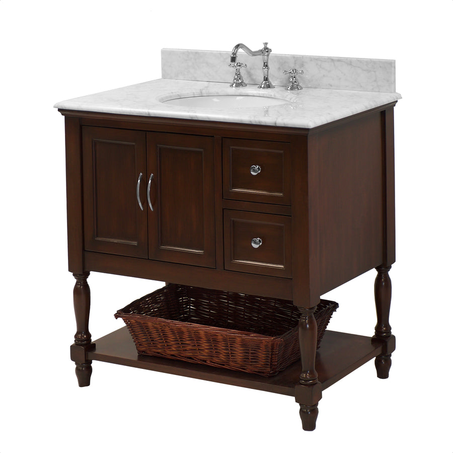 "Beverly 36"" Chocolate Brown Bathroom Vanity with Carrara Marble Top"