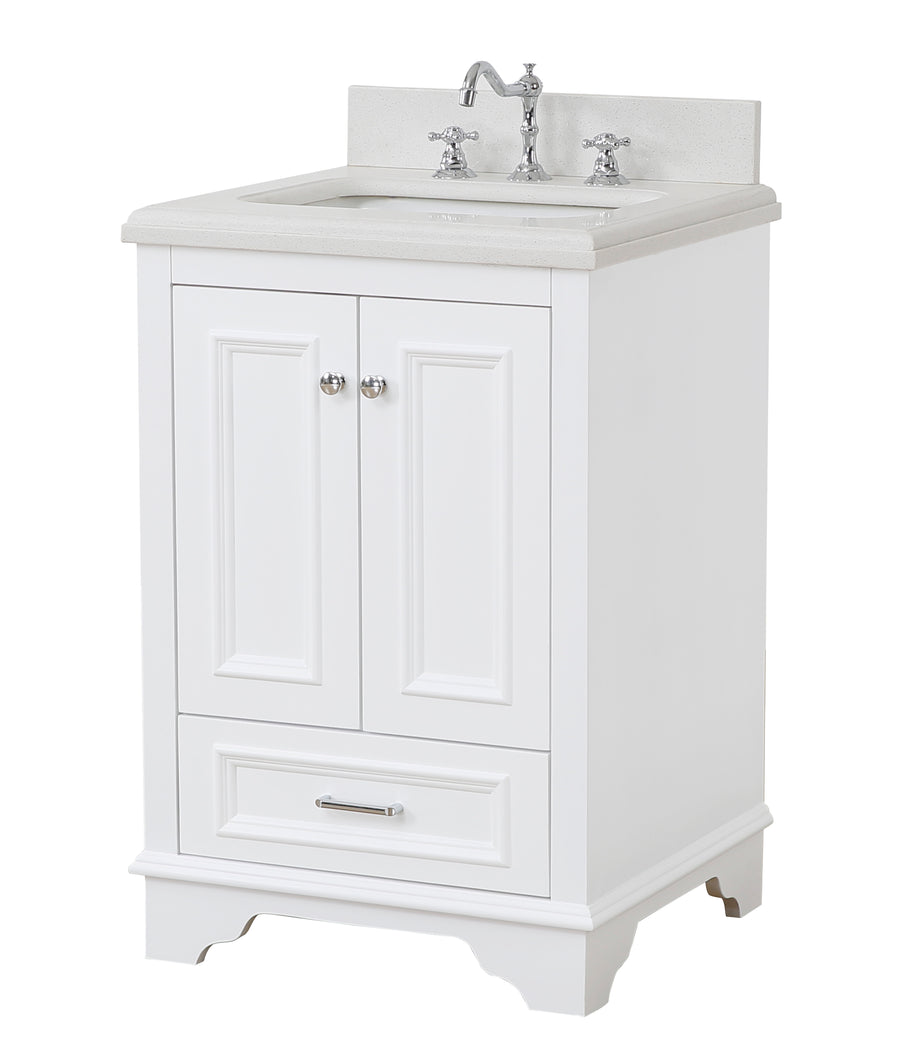 "Nantucket 24"" Bathroom Vanity in Quartz & White"