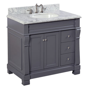 "Westminster 36"" Charcoal Gray Bathroom Vanity with Carrara Marble Top"