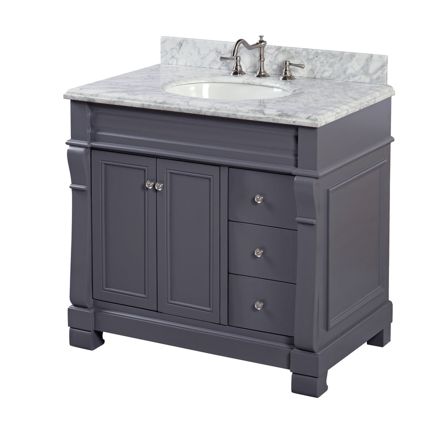 Westminster 36-inch Vanity (Carrara/Charcoal Gray)