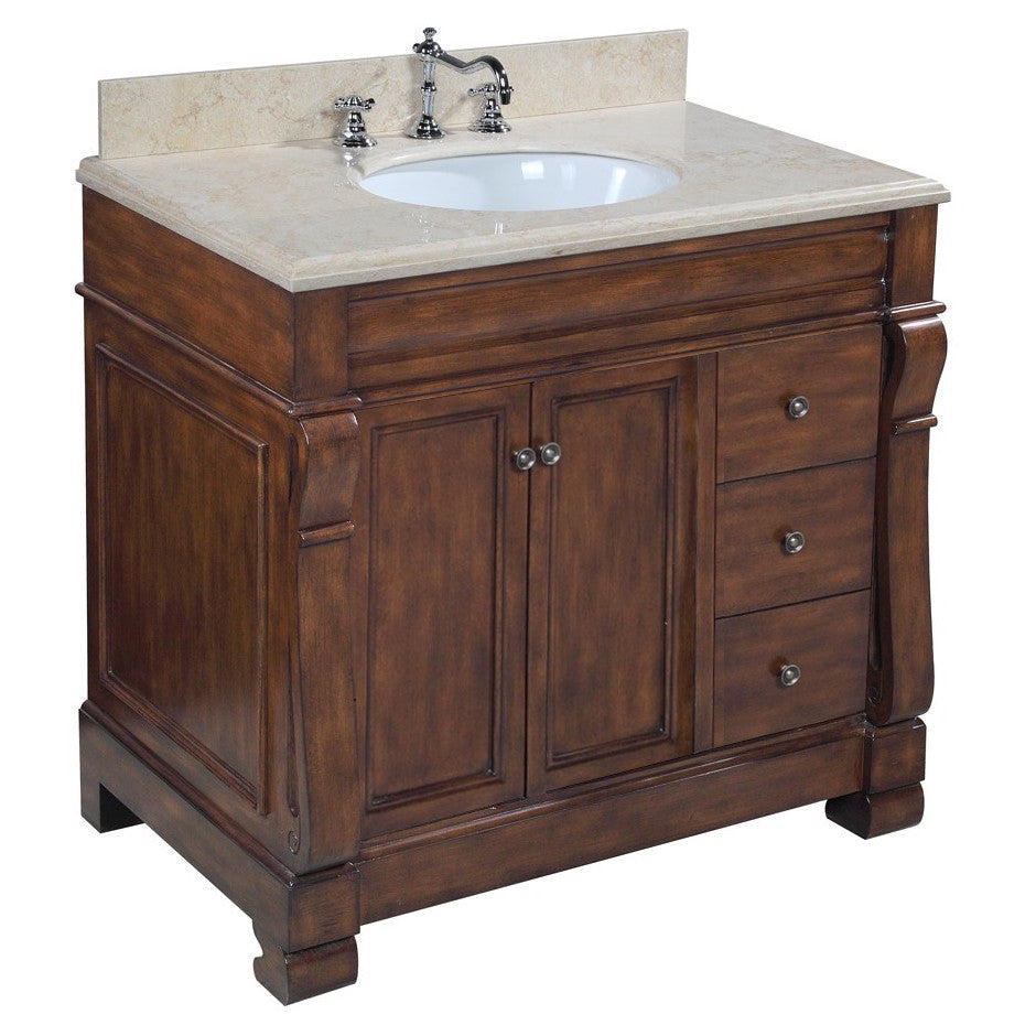 Westminster 36-inch Vanity (Travertine/Brown)