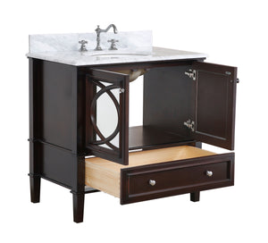 Olivia 36-inch Vanity with Carrara Marble Top