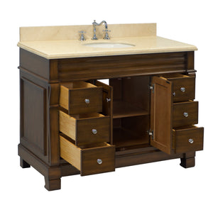 Westminster 48-inch Vanity (Travertine/Chocolate)