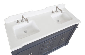 Elizabeth 60-inch Double Vanity with Quartz Top