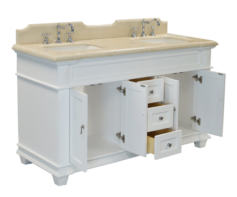 "Elizabeth 60"" White Double Bathroom Vanity with Crema Marfil Top"