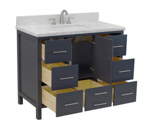 California 42-inch Vanity (Carrara/Charcoal Gray)