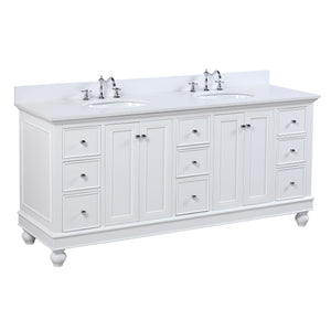 "Bella 72"" White Double Sink Bathroom Vanity with Quartz Top"