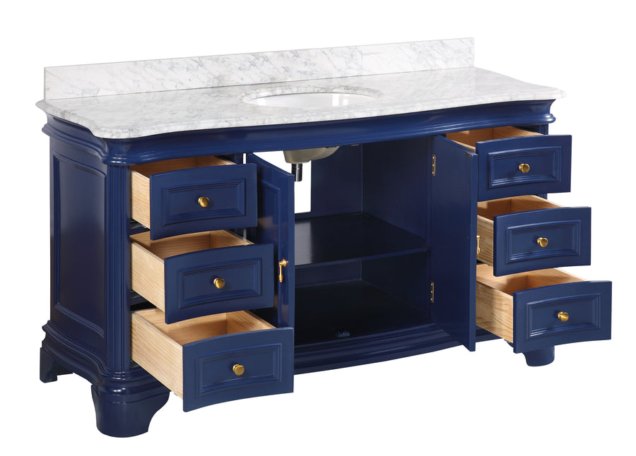 Katherine 60-inch Single (Carrara/Royal Blue)