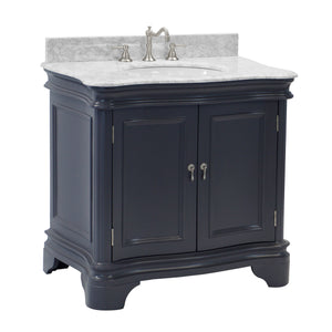 "Katherine 36"" Bathroom Vanity in Carrara & Charcoal Gray"