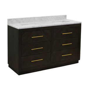 "Avery 60"" Dark Oak Double Bathroom Vanity with Carrara Marble Top"