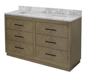 Avery 72-inch Double Vanity with Carrara Marble Top