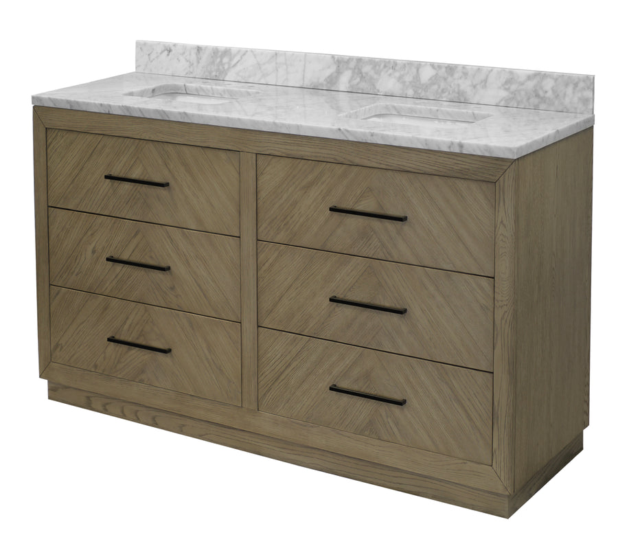 "Avery 72"" Gray Oak Bathroom Vanity with Carrara Marble Top"