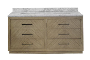 "Avery 72"" Modern Double Sink Bathroom Vanity in Gray Oak & Marble"