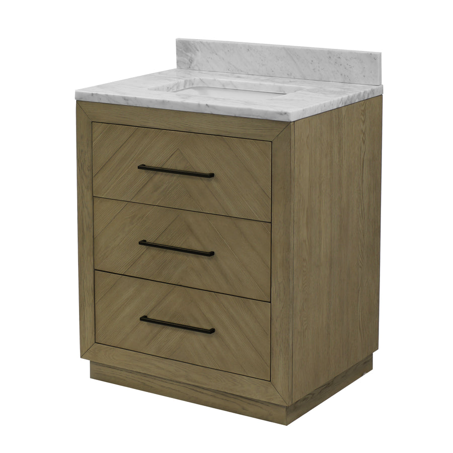 "Avery 30"" Bathroom Vanity in Carrara Marble & Gray Oak"