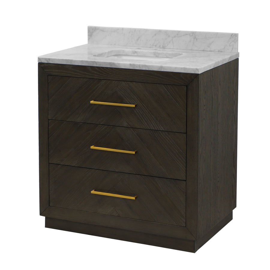 "Avery 36"" Bathroom Vanity in Carrara & Dark Oak"