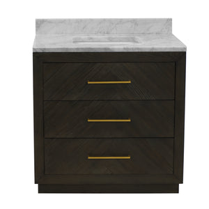 "Avery 30"" Modern Dark Oak Bathroom Vanity with Carrara Marble Top"