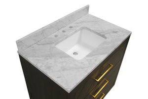 Avery 36-inch Vanity with Carrara Marble Top