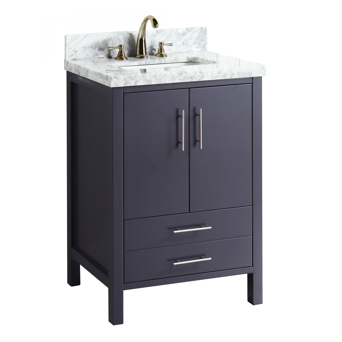 California 24 Inch Vanity Carrara Charcoal Gray