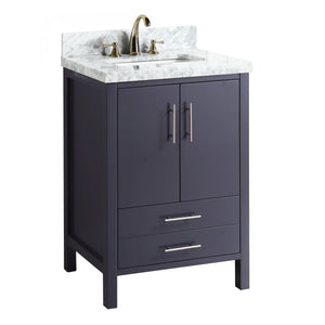 California 24-inch Vanity (Carrara/Charcoal Gray)