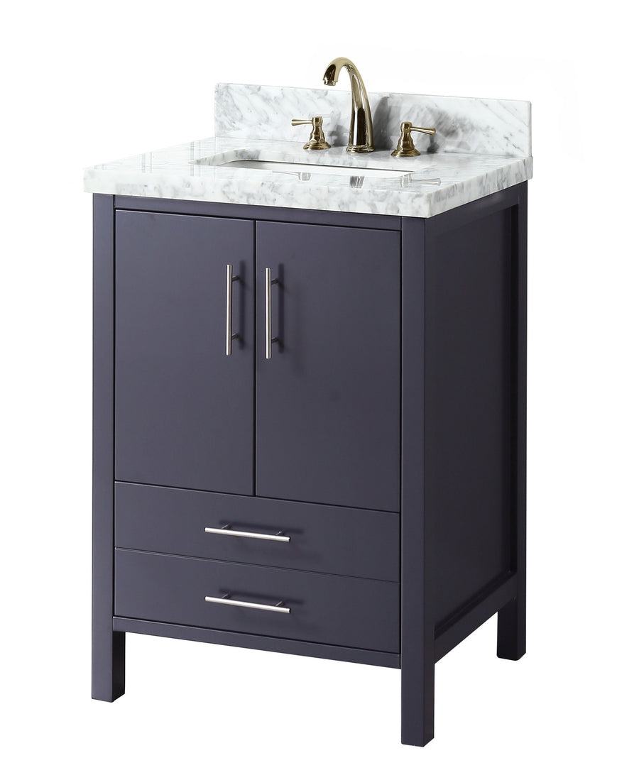 "California 24"" Charcoal Gray Bathroom Vanity with Carrara Marble Top"