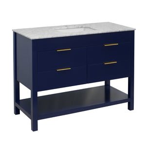 Harbor 48-inch Royal Blue Bathroom Vanity with Carrara Marble Top