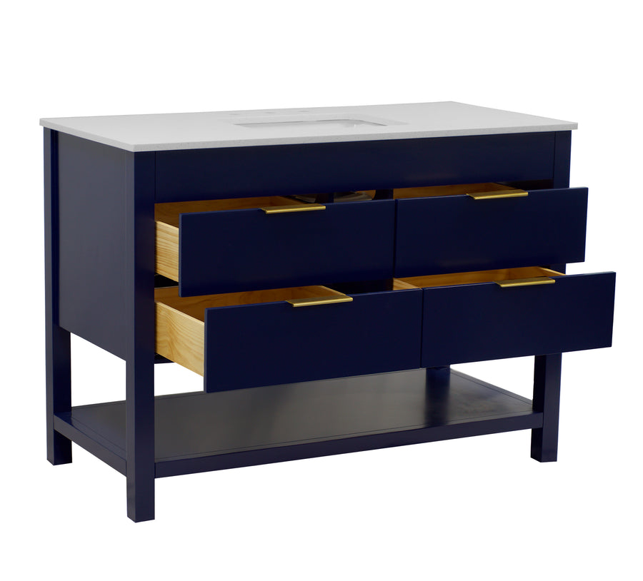 Harbor 48-inch Royal Blue Bathroom Vanity with Quartz Top