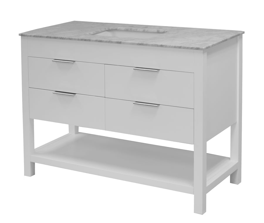 Harbor 48-inch White Bathroom Vanity with Carrara Marble Top