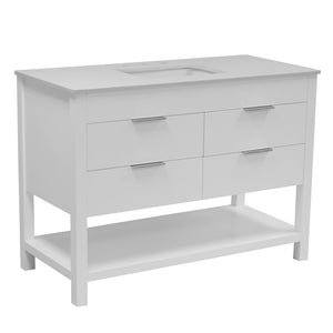 Harbor 48-inch White Bathroom Vanity with Quartz Top
