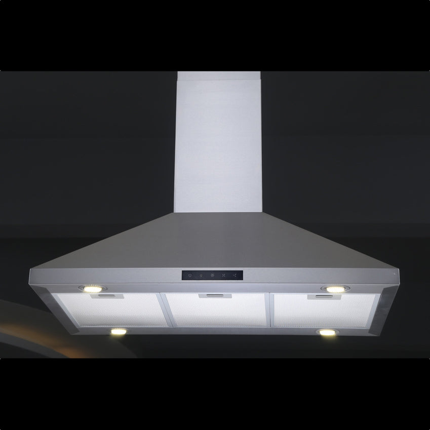 30 30 Kitchen Bath Collection ISL75A-LED Stainless Steel Island-Mounted Kitchen Range Hood with Arched Tempered Glass Canopy /& High-end LED Lights