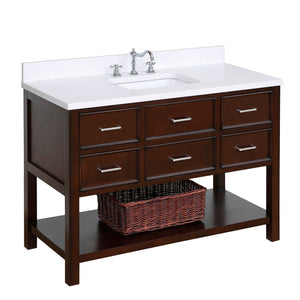 "New Hampshire 48"" Chocolate Brown Bathroom Vanity with Quartz Top"