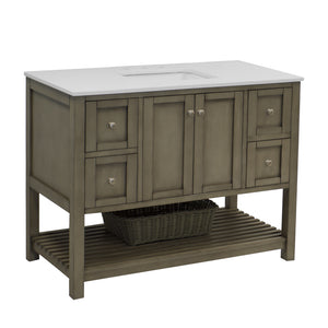 "Lakeshore 48"" Weathered Gray Shaker Bathroom Vanity Quartz Top"